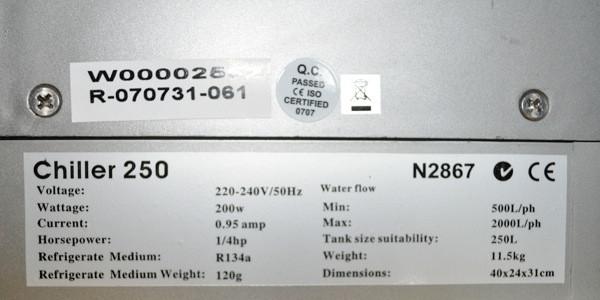 Aquarium Chiller Label