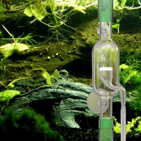 FZONE Glass Inline CO2 Diffuser inside aquarium planted Tank